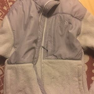 White and gray North Face fleece
